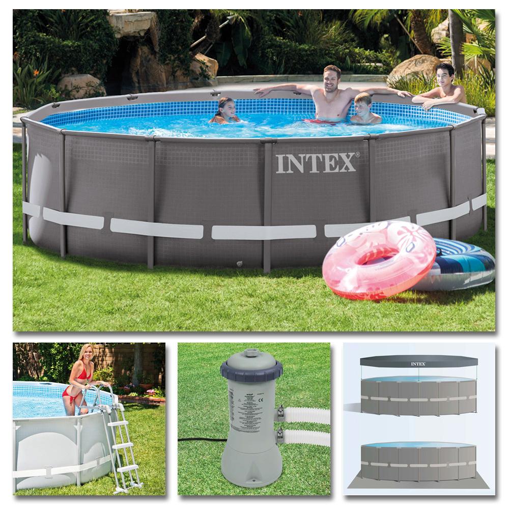 INTEX Komplettset Ultra Frame Pool Ø 427x107cm + Filterpumpe ...