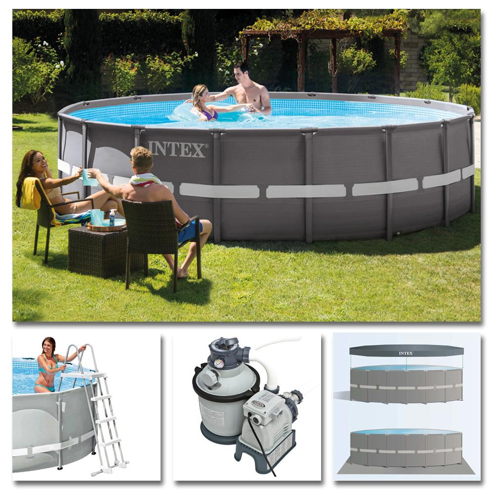 INTEX Komplettset Ultra Frame Pool Ø 488x122cm + Sandfilteranlage ...