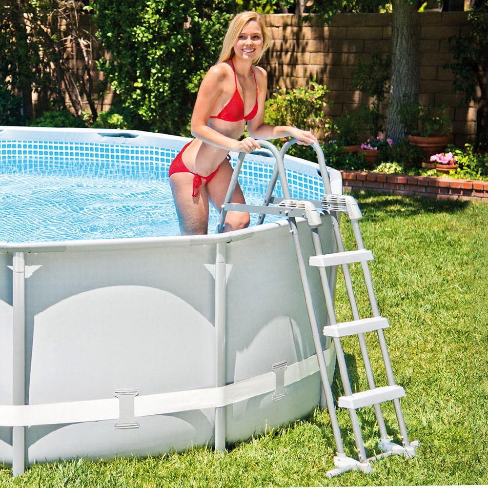 sicherheitsleiter 91 107cm einstiegsleiter frame quick up pool von intex ebay. Black Bedroom Furniture Sets. Home Design Ideas
