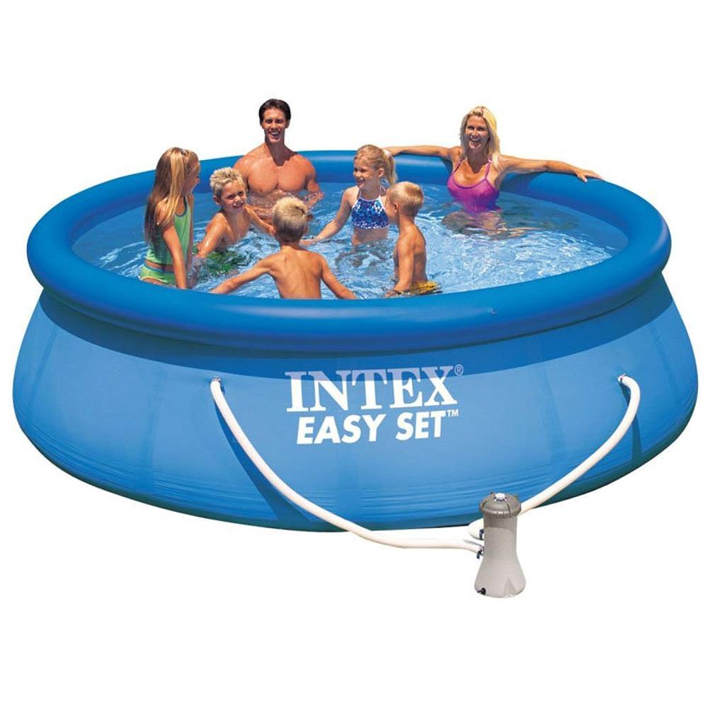 intex komplettset swimming pool mit pumpe 396x84cm. Black Bedroom Furniture Sets. Home Design Ideas