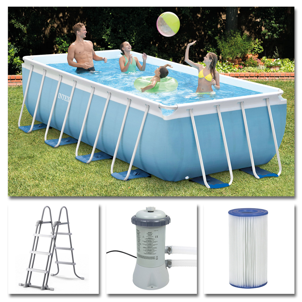 intex komplettset prism frame pool 400x200x100cm filterpumpe schwimmbecken 6941057400846 ebay. Black Bedroom Furniture Sets. Home Design Ideas
