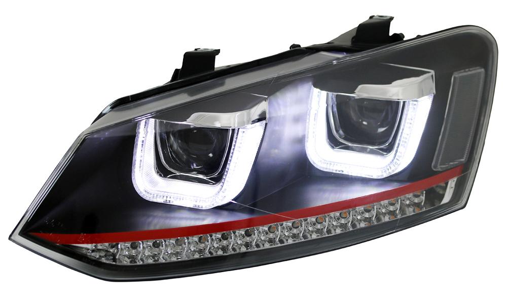 scheinwerfer vw polo 6r 6c schwarz led lauflicht blinker. Black Bedroom Furniture Sets. Home Design Ideas