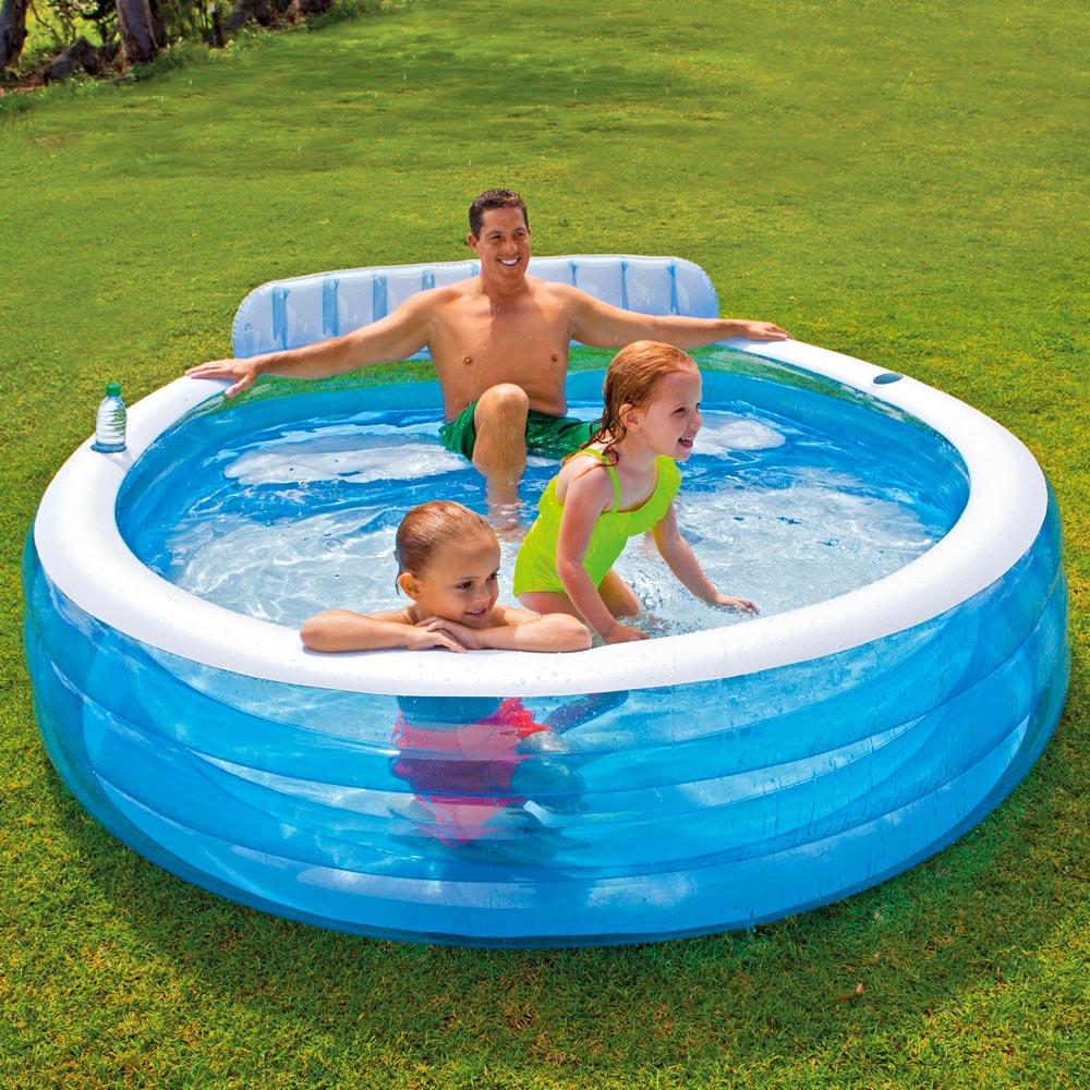 Intex swim center lounge family swimming pool rund - How big is an average swimming pool ...
