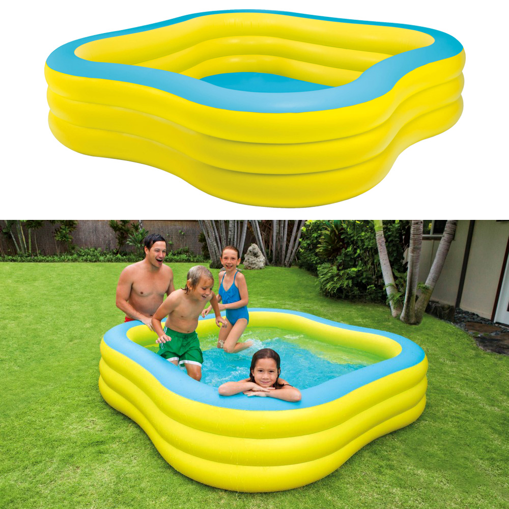 intex swim center 229x229x56cm swimming pool planschbecken kinderpool gelb ebay. Black Bedroom Furniture Sets. Home Design Ideas