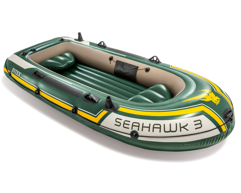 intex seahawk 3 set schlauchboot paddel pumpe angelboot ruderboot 3 personen ebay. Black Bedroom Furniture Sets. Home Design Ideas
