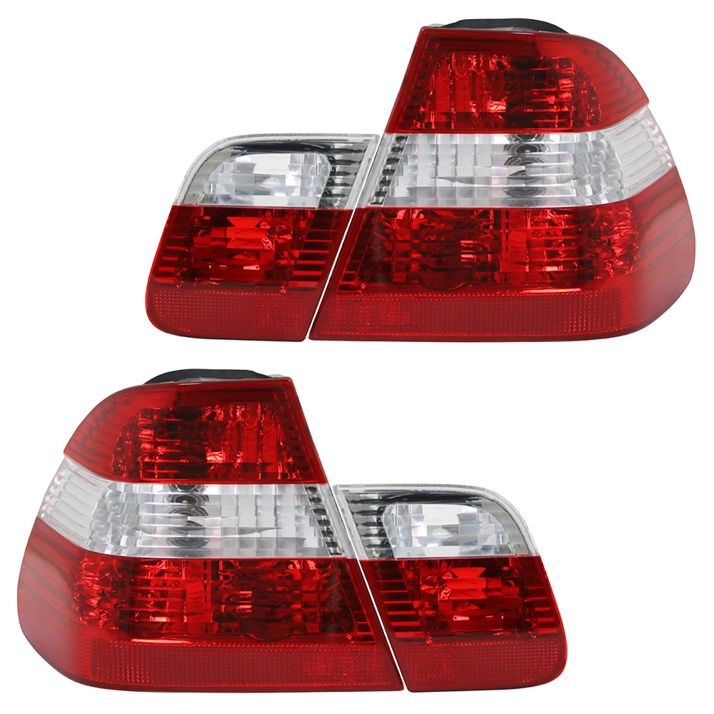 LED Rückleuchten Set 4-Teilig 3er BMW E46 Limousine Bj 01-05 rot weiß chrom