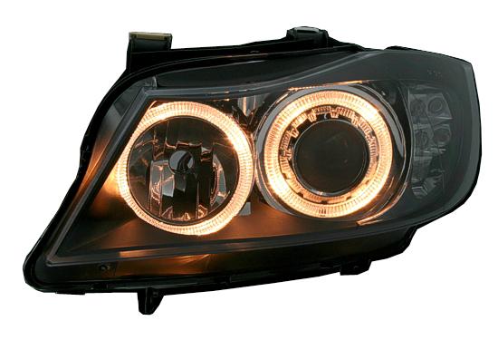 depo scheinwerfer angel eyes bmw e90 e91 schwarz mit led. Black Bedroom Furniture Sets. Home Design Ideas