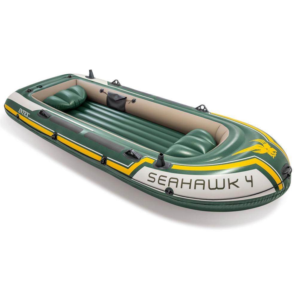 Paddel Schlauchboot Set Seahawk 4 Pumpe Angelboot 4 Personen von INTEX