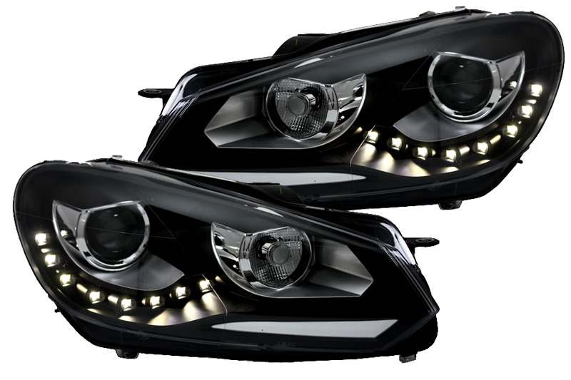 scheinwerfer set drl led tagfahrlicht vw golf 6 vi bj. Black Bedroom Furniture Sets. Home Design Ideas