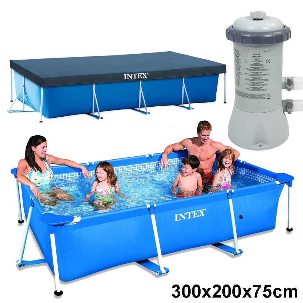 Intex schwimmbecken komplett set family swimming pool for Komplett pool