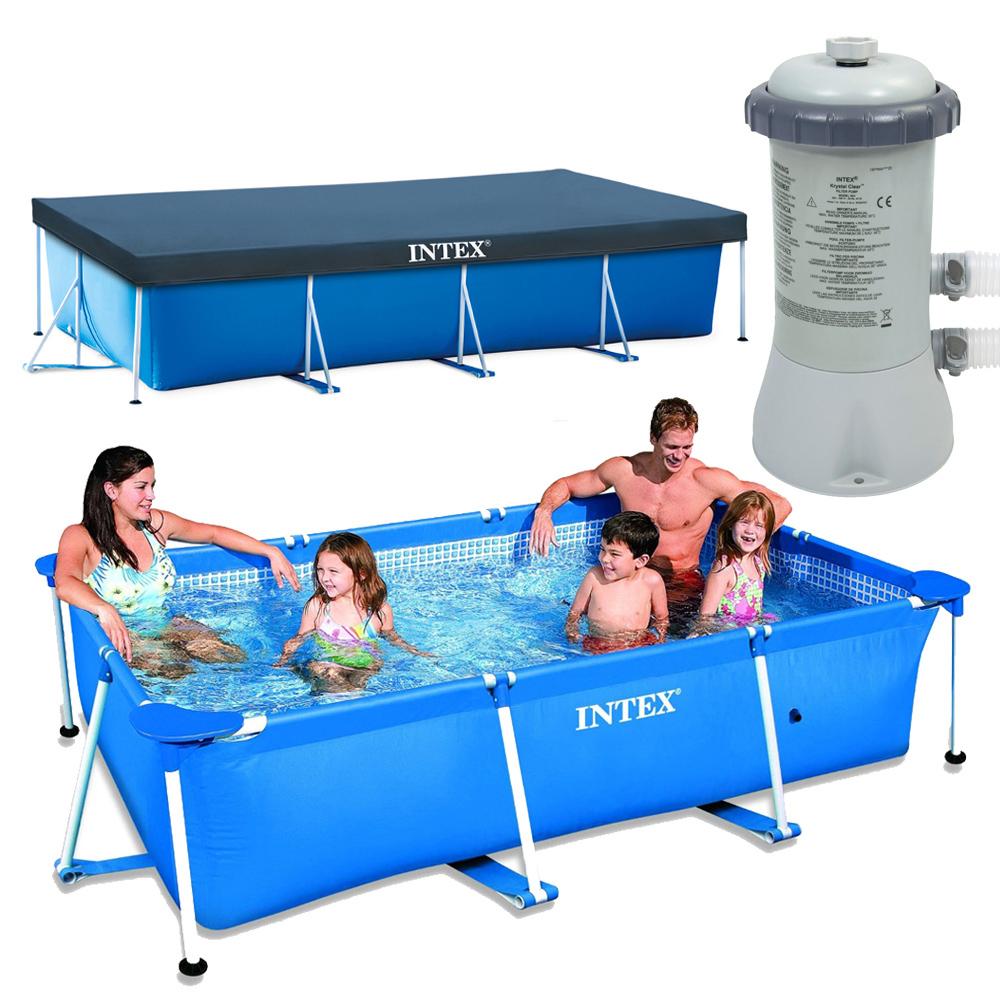 intex schwimmbecken komplett set family swimming pool rechteck frame poolpumpe ebay. Black Bedroom Furniture Sets. Home Design Ideas