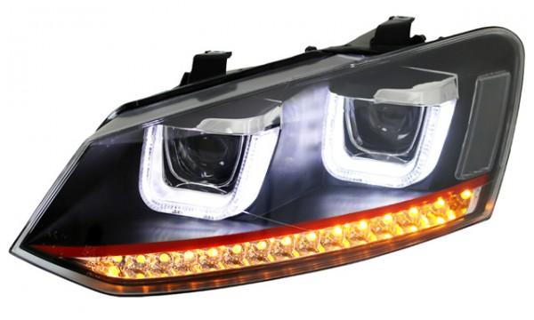 Scheinwerfer U-Tube Tagfahrlicht Optik für VW Polo 6R 6C Bj. 2009- Schwarz