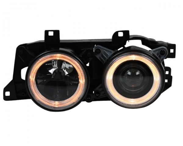 Scheinwerfer Angel Eyes BMW E32 Bj. 86-94 Schwarz