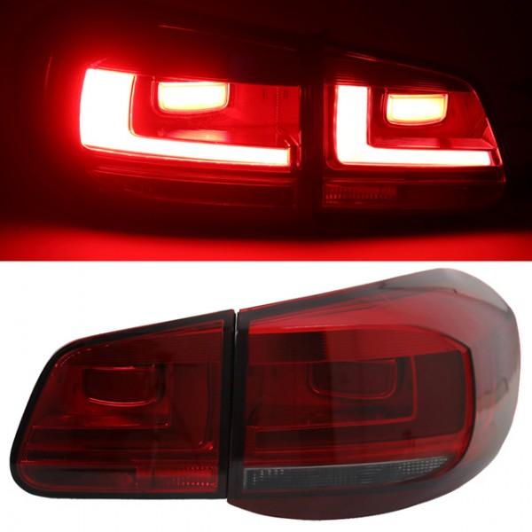 LED Lightbar Rückleuchten für VW Tiguan 5N Bj. 07-11 Dunkelrot/Smoke
