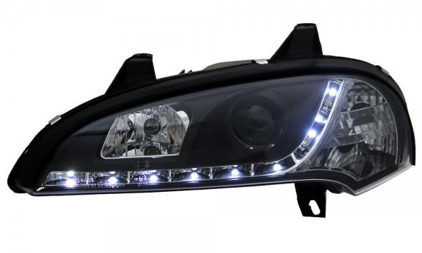 Scheinwerfer Tagfahrlicht Optik für Opel Tigra A Bj. 94-00 Schwarz
