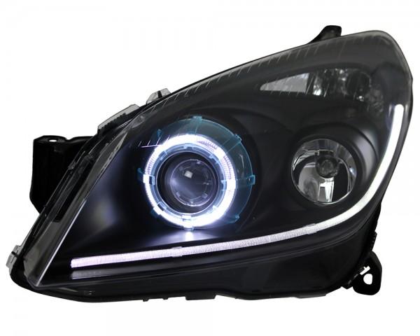 Scheinwerfer LED Angel Eyes für Opel Astra H Schwarz TFL Tagfahrlicht Optik