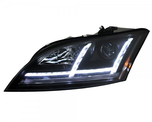 Scheinwerfer Lightbar Audi TT 8J Bj. 06-10 Schwarz LED Tagfahrlicht Optik