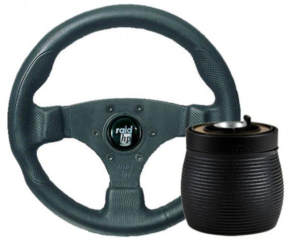 Fiat Uno 146A 83-89 Raid Sportlenkrad 300mm HP Sport Schwarz + Nabe
