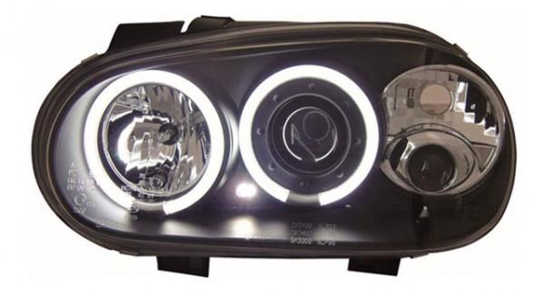 Scheinwerfer Angel Eyes CCFL für VW Golf 4 Bj. 97-03 Schwarz