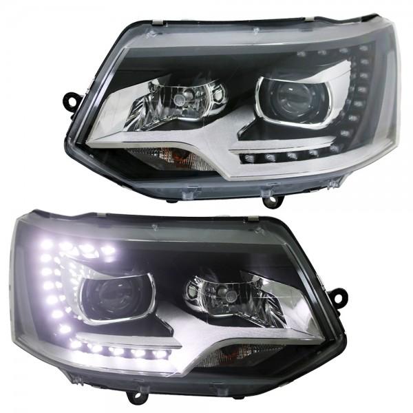 Scheinwerfer LED Tagfahrlicht für VW T5 Facelift Bj. 2009-2015 Schwarz