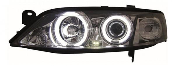 Scheinwerfer Angel Eyes CCFL für Opel Vectra B Bj. 95-98 Chrom
