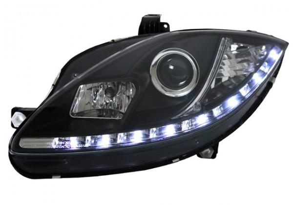 Scheinwerfer Tagfahrlicht Optik für Seat Leon 1P Bj. 04-09 Schwarz