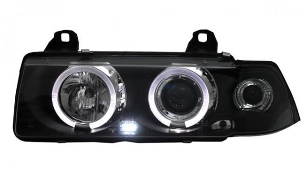 Scheinwerfer Angel Eyes für BMW E36 Compact 93-00 Schwarz