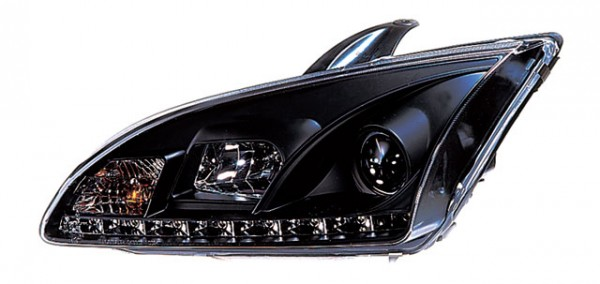 Scheinwerfer DRL Tagfahrlicht Ford Focus Bj. 04-08 Schwarz
