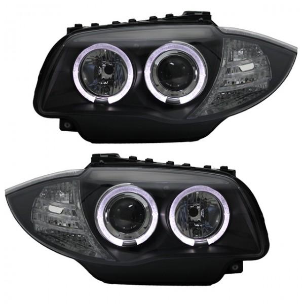E87 E88 LED Angel Eyes Scheinwerfer Set Chrom passend für BMW 1er E81 E82