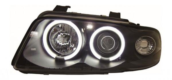 Scheinwerfer Angel Eyes CCFL für Audi A4 B5 Bj. 94-98 Schwarz