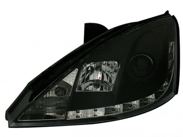 Scheinwerfer DRL Tagfahrlicht für Ford Focus Bj. 01-04 Schwarz