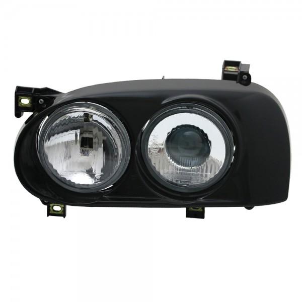 Doppellinsen Scheinwerfer Projektor für VW Golf 3 Bj. 1991-1997 Schwarz
