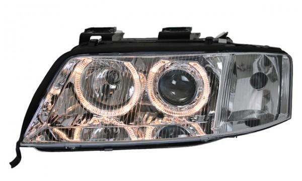 Scheinwerfer Angel Eyes für Audi A6 4B C5 Bj. 97-01 Chrom
