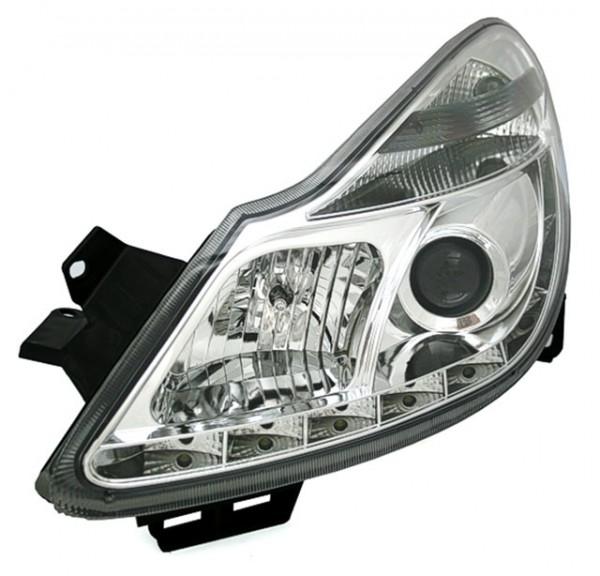 Scheinwerfer Tagfahrlicht Optik für Opel Corsa D Bj. 06-11 Chrom
