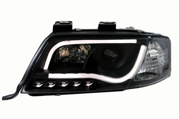 Scheinwerfer Light Tube für Audi A6 4B C5 Bj. 01-04 Schwarz