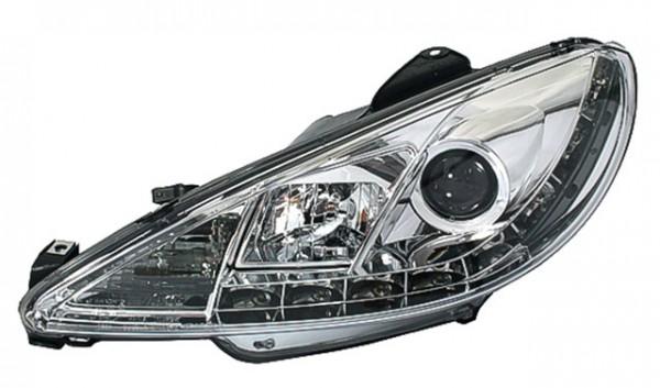Scheinwerfer Tagfahrlicht Optik Peugeot 206 Bj. 98-07 Chrom