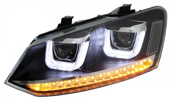 LED Scheinwerfer für VW Polo 6R 6C Schwarz + Dynamischer Blinker Tagfahrlicht Optik