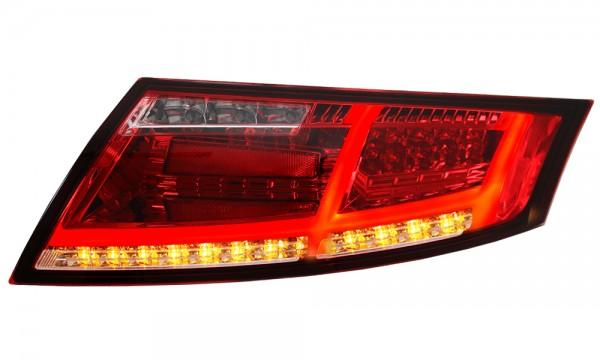 LED Rückleuchten Audi TT 8J Bj. 06-14 Rot/Chrom Dynamischer LED Blinker