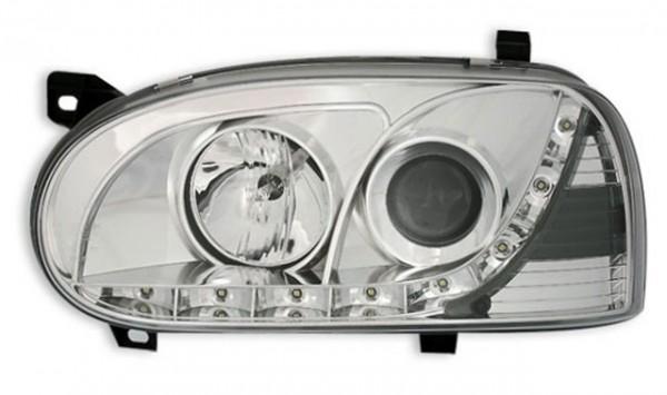 Scheinwerfer Tagfahrlicht Optik für VW Golf 3 Bj. 91-97 Chrom