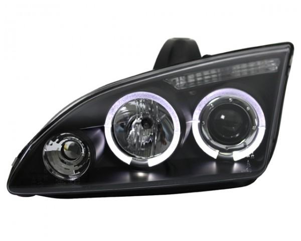 Scheinwerfer Angel Eyes für Ford Focus 2 Bj. 04-08 Schwarz