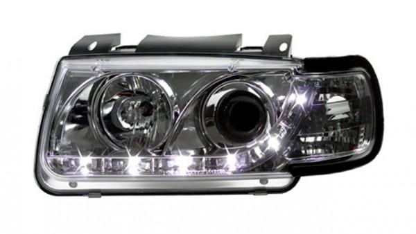 Scheinwerfer Tagfahrlicht Optik für VW Polo 6N Bj. 95-98 Chrom