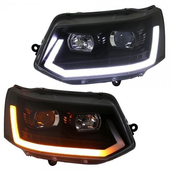 Scheinwerfer LED Tagfahrlicht Lightbar VW T5 GP Bj. 09-15 Schwarz Lauf-Blinker