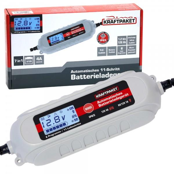 Dino KRAFTPAKET Batterieladegerät mit Batterietester 6V/12V 4A KFZ Auto Motorrad