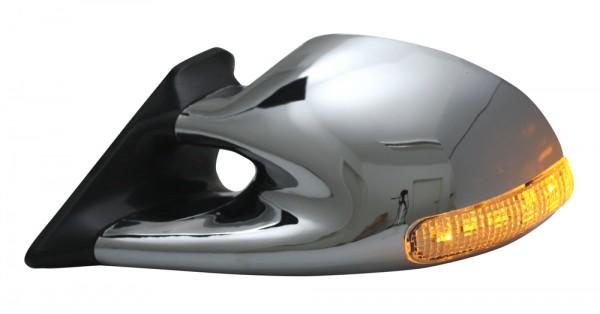 Sport Spiegel elektrisch / beheizbar mit LED Blinker Chrom