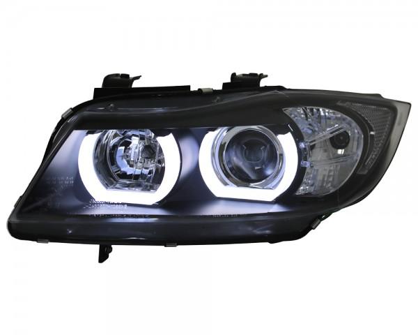 Scheinwerfer 3D Angel Eyes für BMW E90 E91 Bj. 2005-2008 Schwarz