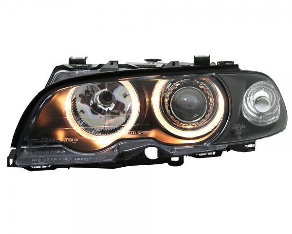 CCFL Angel Eyes Scheinwerfer Set in Klarglas Schwarz inkl Stellmotoren