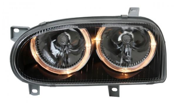 Scheinwerfer Angel Eyes für VW Golf 3 Bj. 91-97 Schwarz