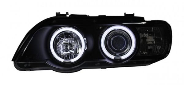 Scheinwerfer Angel Eyes CCFL für BMW X5 E53 Bj. 00-03 Schwarz