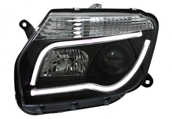 Scheinwerfer Light Tube für Dacia Duster Bj. 10-13 Schwarz