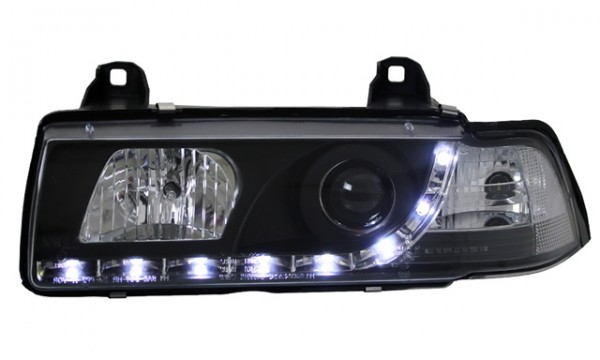 Scheinwerfer Tagfahrlicht Optik BMW E36 Limo Schwarz